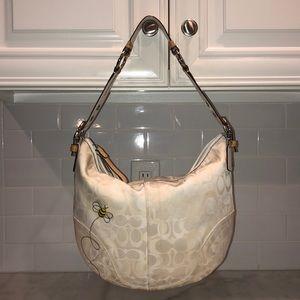 Coach Rare White Cream Bumblebee Hobo Shoulder Bag